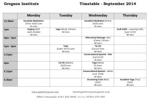 September 2014 Timetable